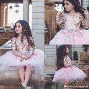 Flower Girls Abiti per sposa Ball abito rosso Organza perline Piano lunghezza Little Girls Pageant Dresse