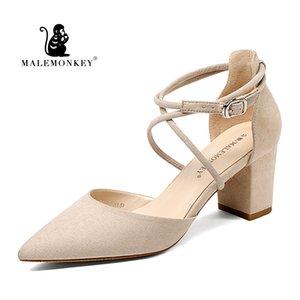MALEMONKEY 1391 Verão Mulheres Sandálias 2020 Ankle Strap Sandals Low Mid High Heel Sapato Plataforma Mulheres Partido Shoes Calçados