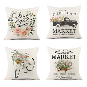 Spring Saying Throw Pillow Cover 45*45cm Flower Wreath Jar Truck Bicycle Linen Cushion Pillow Case For Sofa Home Decoration HH9-2985