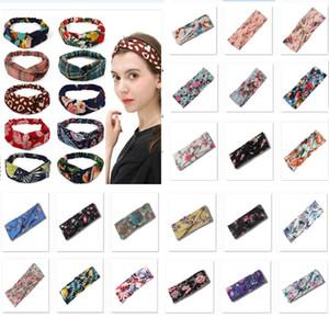 Frauen Stirnbänder Mädchen Böhmen HairBoho Für Blume Gedruckt Haarbänder Twisted Cross Elastic Head Wrap Haarschmuck Party HH9-2412