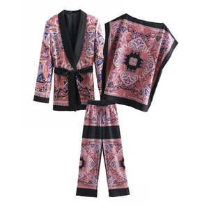 Women Vintage Floral Print Two Piece Set 2019 New Coat Wide Leg Pants Sashes Elastic Waist Suits Casual Loose Outfits