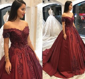 Wine Embroidery Beading Crystal Quinceanera Dress Vestiods De Festia 2020 Off The Shoulder Draped Satin Prom Dress A-line Evening Gowns Long