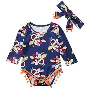 saç bandı Pamuk yumuşak pijama çocuklar bebek kıyafetleri Summer ile Çiçek Yürüyor Bebek Çocuk Kız Bebek Romper Uzun kollu Jumpsuit