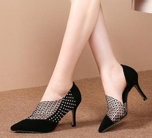 Hot Sell Black Meshy Rhinestone Pointy Pumps Suede Kitten Heel Shoes Designer High Heels With Box