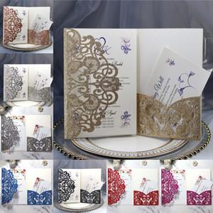 Invitación de boda de la tarjeta del brillo láser hueco Tarjeta de Invitación Gris Negro reluciente de la invitación personalizada Tarjeta + Envelope