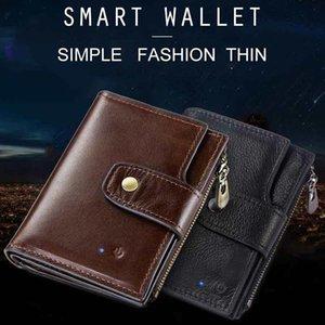 Recién llegado Hombres Smart Anti-Lost Wallet Purse Bluetooth Posición Registro RFID Estilo retro Gran capacidad