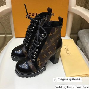 Designer Women high quality Lace-up Ankle Leather heavy-duty soles leisure lady Martin Boots