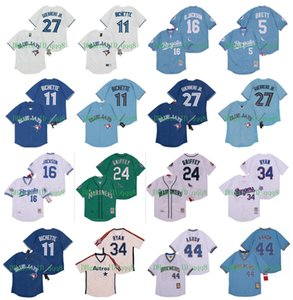 Jersey Vintage 16 Bo Jackson 5 George Brett 11 Bo Bichette 44 Hank Aaron Vladimir Guerrero Jr. Ken Griffey Jr 34 Nolan Ryan Retro Baseball