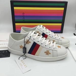 2020 ace gestickte sneaker herren klassische biene low-top streifen leder turnschuhe damen casual trainer designer luxus mode männer schuhe 5-10