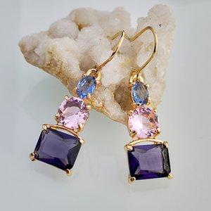 Fashion Amethyst Topaz Crystal Earrings Zircon Gold Plated Earrings Dangle Ear Hook Charm Pendant Eardrop Women Jewelry Gifts