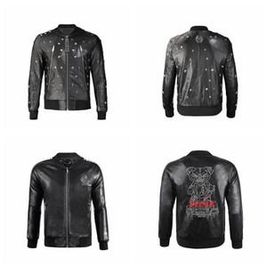 Top-Qualität Phillip Plain-Marken-Männer PU-Leder-Jacken-Mantel-Schädel-Kopf-Oberbekleidung Winter dünne Für Mann Zipper Designer