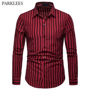 남성 빨강 검정 줄무늬 셔츠 Lapel Long Sleeve 남성 수직 줄무늬 셔츠 캐주얼 비즈니스 Regular Fit Plus Size 옴므 탑 XXL