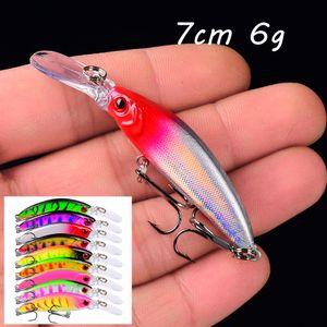 9 Color Mixed Minnow Plastic Hard Baits & Lures 7CM 6G 8# Hook Fishing Hooks Pesca Fishing Tackle BLU_217