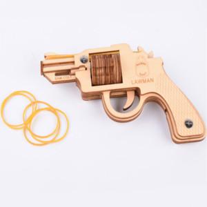 Fradoo 3d diy holz montage spielzeug laserschneiden woodcraft montageset lauf feuer gummiband pistole pistole modell puzzle spielzeug