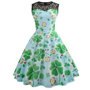 2019 vestido de dia de são patrício para as mulheres sem mangas lace trevo de quatro folhas shamrock mulheres dress verde verão vintage dress senhoras roupas femininas