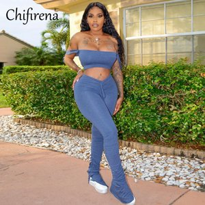 Chifirena Plus Size Sexy Women Sets Crop Tops and Ruched Flare Pants 2 Piece Sets Workout Sportwear Suits Solid Woman Outfit