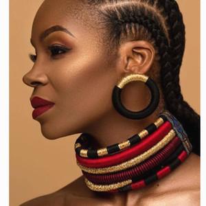 Liffly Marke Halskette Ohrringe Mehrschichtige Woven Schmuck-Halskette Brauthochzeitsfest Afrika Perlen Schmuck-Set für Frauen