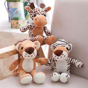 Regalo Forest Animals bambola di pezza peluche Jungle Series Leone animale Tigre Leopardo Giraffa Giocattoli bambini