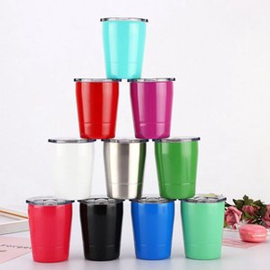 8oz Coffee Mug Stainless Steel Outdoor Water Bottle With Lids without straw Vacuum Cup Double Walled Wine Glass KKA7847