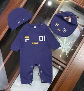 print New Born Baby Clothes Carta Tag roupas de marca menino macacãozinho traje dos miúdos para bebês Macacão + + bib roupas infantis chapéu Menina