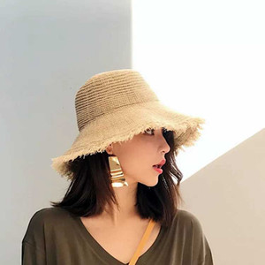 Disquette pliable dames femmes paille plage soleil chapeau d'été large bord respirant capuchon extérieur plage sunhat protection solaire chapeau de pêcheur LJJJ167