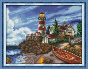 O litoral farol cenário pintura de decoração para casa, Handmade Cross Stitch Bordado conjuntos de costura contados impressão sobre tela DMC 14CT / 11CT