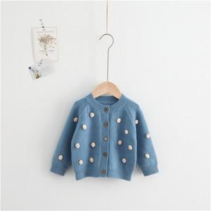 La ropa del bebé Pompón Cashmere Cardigan Otoño Invierno del bebé de punto jersey de lana niño niños suéteres de los puentes Ropa del bebé