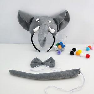 3 pièces pour enfants Animaux Oreilles Mignon Bandeau Parti cravate et la queue cosplay Costume Party Favors Elephants Accessoires cheveux Creative cadeau