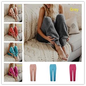 Donna Fuzzy in pile Pantaloni Donna Inverno colore solido elastico in vita allentata legging i pantaloni del pigiama Lounge sonno caldo pantaloni lunghi peluche