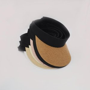 2019 Fashion Summer Womens Clip en Straw Sun Visor Wide Brim Empty Top Sun Hat Gorras de playa