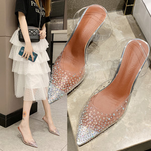 Kadınlar için Şeffaf Kristal Düğün Ayakkabı Yüksek Topuklar Sandalet İnce Topuklar Slingback Kadınlar Ayakkabı Sonbahar 35-39 moda kadın sh