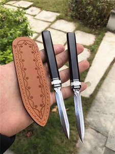 Special Offer Damascus Pu'er Tea Knife Damascus Steel Blade Ebony Handle Fixed Blade Knives Collectable Gift Knife Leather Sheath