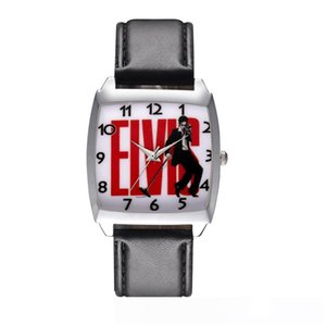Cartoon Boy women's girl children students Elvis Presley Rectangle dial Black leather strap quartz wrist watch 09