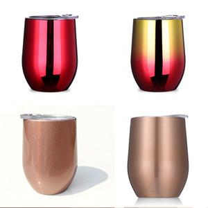 Großhandel Edelstahl Becher Tassen 12oz Weingläser Multi Farben anpassbare Weinflaschen Bier Cocktail-Tassen mit Deckel BH0768 TQQ