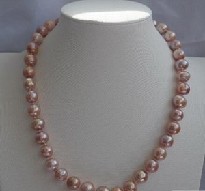 Colar Frete Grátis +++ 12MM roxo Bead-Nucleated Pearl Necklace