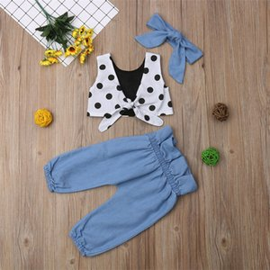 Summer girl kids clothes Set sleeveless dots top+Jeans pants +bows Headband 3 pcs sets Kids Designer Clothes Girls bJY344