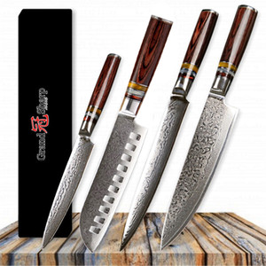 GRANDSHARP Damascus Набор кухонных ножей 4 шт. Японские кухонные ножи из дамасской стали Шеф-повар Santoku Slicing Utility Японский кухонный нож