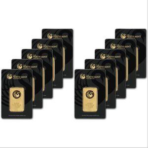 DHL di trasporto 10pcs / lot, Australia 1 oz Perth Mint Gold Bar Non magnetico, placcato in oro 24 carati, regalo