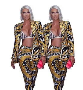 Женские костюмы Пиджаки Sexy Глубокий V Тонкий печати костюм
