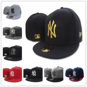 Baseball Mensentwerfer bedeckt Hüte NY klassische Full geschlossen Einbau Hut Embroiered Team NY Logo Fans Baseball-Mütze Top-Qualität