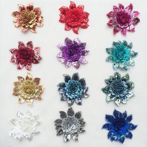 8cm * 7.5cm цветок Sequined кружево аппликация вышивка патчи для одежды Пришивных кружев обуви сумки украшения DIY принадлежности для шитья