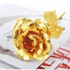Regalos de la flor para el amante de la boda de San Valentín Día de la Madre del partido decoración del hogar de la hoja de oro 24k plateado artificial de Rose de tallo largo