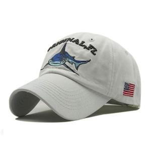 2019 Vintage Washed Denim Cap Snapback Bestickte Hai-Baseballmützen Männer Outdoor Angeln Cap Cotton Casual Dad Hut