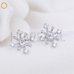 CZ Stud Earring 925 Sterling Silver Mountings Accesorios de perlas Noble Fashion Designs for Women 5 Pairs