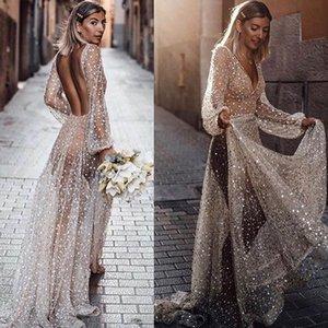 Kadınlar Elbiseler Sequins Perspektif Backless Pullarda Elbise Retro Abiye Uzun Etek V yaka Yaz İlkbahar Moda Mizaç