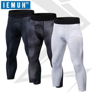 De compresión de 3/4 Capri Pant fresco y seco Deportes pantalones de las medias Baselayer Ejecución de Yoga polainas Lycra los hombres atléticos para practicar diversos deportes