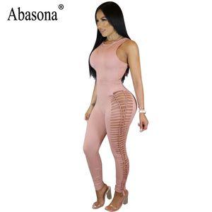 Abasona Frauen Overalls Sexy Nachtclub Tragen Frauen Strampler Aushöhlen Sommer Overall Bodycon Schwarz Rosa Overalls Femme Y19060501