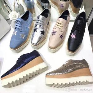 Designer de luxo Sapatos de plataforma mulher de couro Bandage Sapatos casuais de sola de Espessura Macia Estrelas de couro Quadrado de cabeça alta Heeled Slope sapatos de salto