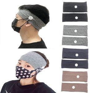 Унисекс кнопка оголовье спортивного фитнес-бандан головного убор может предотвратить повреждение уха сплошного цвета широкополосной маски для волос аксессуаров DA386