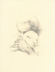 Katherine Brown JESUS AND THE LAMB sketch Art Painting Home Decor Handpainted &HD Print Oil Painting On Canvas Wall Art Canvas 200707